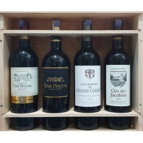 CHATEAU WOODEN GIFT PACK 75CL ( FRENCH WINE 4 BOTTLES)